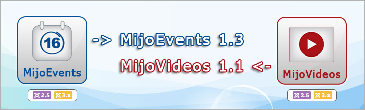 MijoEvents 1.3 and MijoVideos 1.1 released
